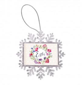 6,5 cm-es hópehely karácsonyfadísz fényképpel